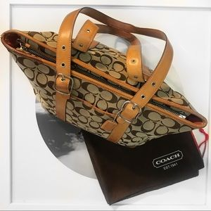 Coach Signature Monogram Canvas Tote Shoulder Bag